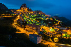 Mountain town Caltabellotta (Sicily, Italy) at nig Stock Photos