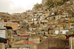 Mountain town Caltabellotta (Sicily, Italy) and su Royalty Free Stock Images