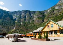 Mountain Town in the Fjords. The small tourist town of Flam (fl�m) on the western side of Norway deep in the fjords.  The fl�m railway station and Stock Photography