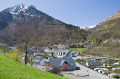 Mountain town in the spring Pyrenees Royalty Free Stock Image
