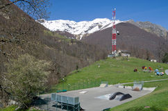Mountain town in the spring Pyrenees Stock Images