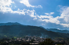 Mountain town. A traditional Bulgarian mountain town on a rainy day Royalty Free Stock Images