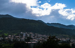 Mountain town. A traditional Bulgarian mountain town on a rainy day Royalty Free Stock Photo