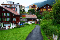 Mountain town,Wengen in dawn Stock Images