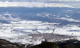 Mountain town during the winter Stock Image