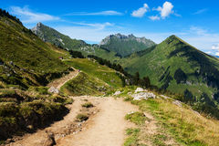 Mountain track. Empty mountain track in French Alps, Haute Savoie royalty free stock photos