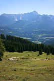 Mountain track and valley Royalty Free Stock Photos