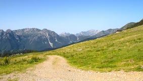 Mountain trail on alps Royalty Free Stock Photo