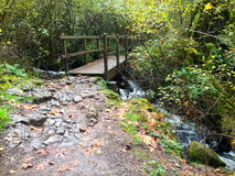 Mountain trail bridge. Trail bridge over mountain stream Royalty Free Stock Photography