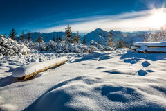 Mountain trail covered with snow Stock Images