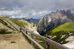 Mountain trail, Dolomites, Italy. Veneto Dolomites seen from the Tre Cime di Lavaredo, Italy stock photos