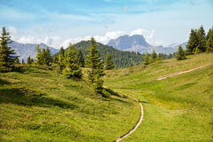 The mountain trail in French Alps Stock Photos