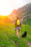 Mountain trail of a girl with her dog. Hiking on mountain trail of a girl with her dog Royalty Free Stock Photos