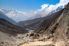 Mountain trail in the Gokio Valley.Himalayas. Stock Photos