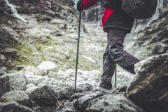 Mountain Trail Hiker stock images