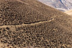 Mountain trail in the Himalayas. Mustang, Nepal Royalty Free Stock Images