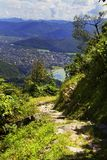 Mountain trail in Himalayas in sunny day. Pokhara, Nepal stock images