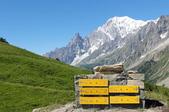 Mountain trail indications and Mont Blanc. Mountain trail indications with Mont Blanc peak and ices in background stock photo