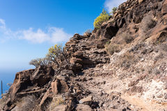 On the mountain trail on the island La Gomera Royalty Free Stock Photos