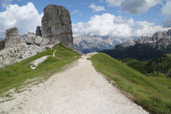 Mountain trail path, Dolomites Alps, Italy Royalty Free Stock Photos
