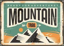 Mountain trail retro sign board Stock Photo