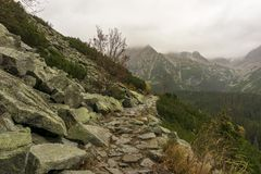 A mountain trail in the Slovakian Tatra Mountains in autumn stock photos