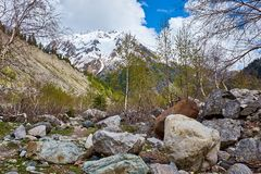 Mountain trail among the stones in the mountains of Georgia stock images