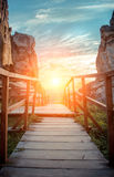 Mountain trail on a sunset background. Summer time of the year Royalty Free Stock Images