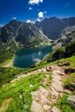 Mountain trail to Czarny Staw Gasienicowy in summer, Poland. Europe Stock Photo