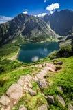 Mountain trail to Czarny Staw Gasienicowy in summer, Tatras. Europe Royalty Free Stock Photo