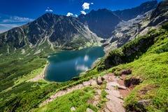 Mountain trail to Czarny Staw Gasienicowy in Tatras, Poland. Europe Royalty Free Stock Images