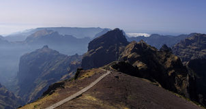Mountain trail to Pico do Arieiro stock images