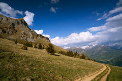 Mountain trail under blue sky. French Alps. Mountain trail on grassed slope under blue sky with clouds. French Alps, Varan Royalty Free Stock Photos