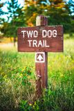Mountain Trail Wood Sign stock images