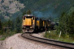 Mountain Train 1. A diesel locomotive high in the Colorado Rockies Stock Images