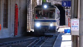 Mountain Train Arrives at the Train Station. The city of Montreux, Switzerland