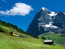 Mountain train on Eiger mountain, Switzerland Stock Photos