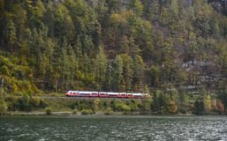 Mountain train in Hallstatt, Austria stock images