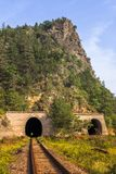 Mountain train tunnel Stock Photo