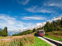 Mountain tram in Alps. France. Chamonix valley. Popular touristic destination Stock Image