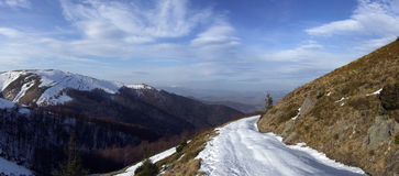 Mountain travel. Detailed panoramic picture of mountain pass Royalty Free Stock Photography