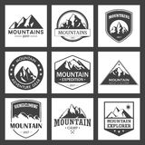 Mountain travel, outdoor adventures logo set. Hiking and climbing labels or icons for tourism organizations, events Royalty Free Stock Image