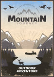 Mountain Travel Poster. With rock forest lake tourist birds and deer in retro style vector illustration Royalty Free Stock Photos