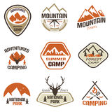 Mountain and travel retro emblems and labels set royalty free illustration