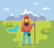 Mountain Travel Trip Vacation Backpaker Man Wood Staff Concept Flat Design Icon Forest Background Vector Illustration Royalty Free Stock Photography