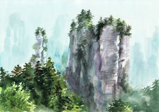 Mountain and tree. Watercolor original painting of landscape with rock and tree by Veronika Surovtseva Royalty Free Stock Image
