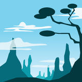 Mountain and tree scene. Image graphic style of mountain and tree scene in simple shape vector illustration