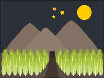 Mountain and tree view night illustration Stock Photography