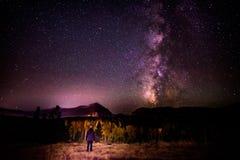 Mountain, Trees, Night, Dark, Sky Stock Image