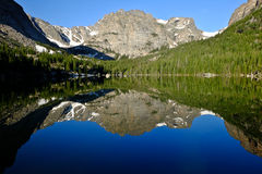 Mountain and Trees Reflected in Alpine Lake. Stock Images